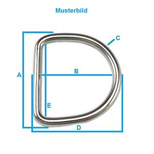Gr/ö/ße:A 14x10x1mm I 11x7mm Gr/ö/ßenwahl maDDma 20 Edelstahl Halbringe D-Ringe Silber